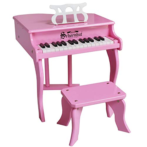 Schoenhut Fancy Pink Baby Grand Piano - 30-Key Keyboard Piano with Bench and Patented Learning System - Baby Musical Instruments Promotes Hand-Eye Coordination - Ideal Mini Keyboard Piano for Gift