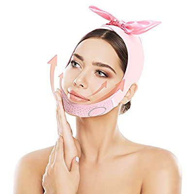 Face Slimming Strap, Double Chin Reducer, V-Line Face Lifting Bandage V Line Up Facial Contour Lifting Belt Face Neck Slimming Band for Eliminates Sagging Skin Lifting Firming Anti Aging by Solati
