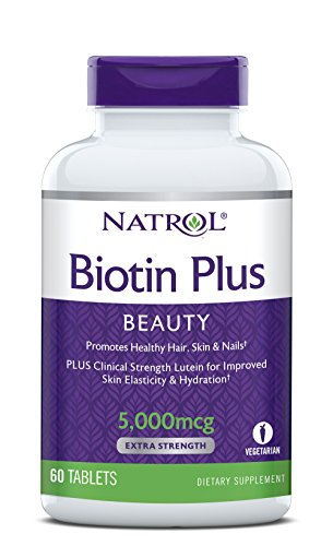 Natrol Biotin Beauty Plus Lutein Tablets, Promotes Healthy Hair, Skin & Nails, Improves Skin Elasticity & Hydration, Extra Strength 5,000mcg, 60 Count