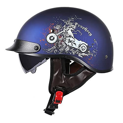 PRETAY Casco De Moto Medio Casco Casco De Cara Abierta Cerebro Cruiser Chopper Patineta Casco De Seguridad Ciclomotor Gafas Incorporadas De LiberacióN RáPida (Color : G, Size : M(53~54cm))