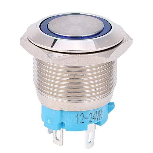 Interruptor de botón pulsador de 4 pines, interruptor de botón pulsador, 1NO Ip65 para toque cómodo Silver Point 12~24VDC 2 uds(blue)