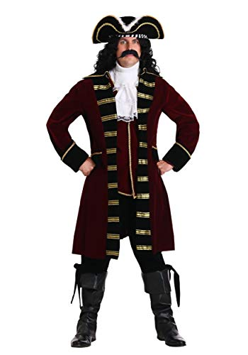Plus Size Deluxe Captain Hook Costume Men's Pirate Costume 4X Red
