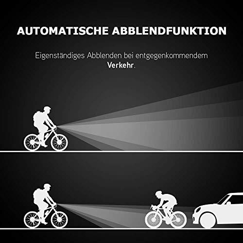 HEITECH StVZO Akku Fahrradlicht Set - Abblendfunktion, Tagfahrlicht, 180 Lumen, 100m Reichweite, regenfest, wiederaufladbar - Fahrrad Beleuchtungsset LED Fahrradbeleuchtung mit Frontlicht & Rücklicht - 8