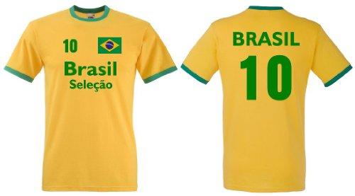 Fruit of the Loom Brasilien Herren T-Shirt Brasil Seleçao Retro Trikot beids.|L