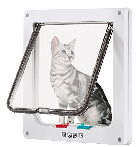 CEESC Puerta de gato grande para ventanas, puerta de gato con bloqueo de 4 vías para ventanas y puerta de cristal deslizante, puerta de solapa impermeable para gatos y perros con circunferencia