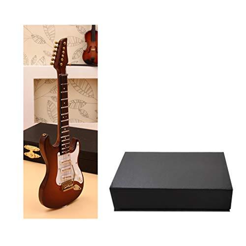 LAOLEE Réplica de guitarra eléctrica en miniatura de 10 cm con soporte de caja de instrumentos musicales, modelo de guitarra eléctrica mini de 10 cm (con soporte de vinilo)