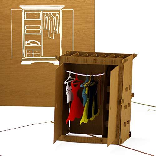 Pop-Up Karte Kleiderschrank – lustige 3D Geburtstagskarte & Glückwunschkarte als Gutschein, Geldgeschenk, Geschenkverpackung, Shopping-Gutschein & Einkaufsgutschein zum Shopping-Tour