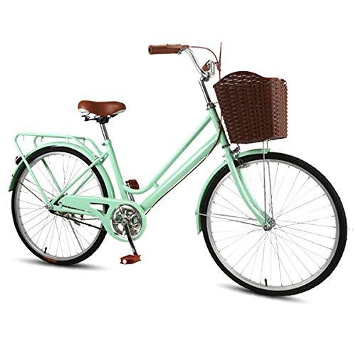 CLOUDH 24 Zoll Commuter Ladies Bike, 7-Gang Shimano Gripshift Schaltung, Hollandrad Mit Umweltfreundlicher Korb, Für Student Damen Herren Fahrrad
