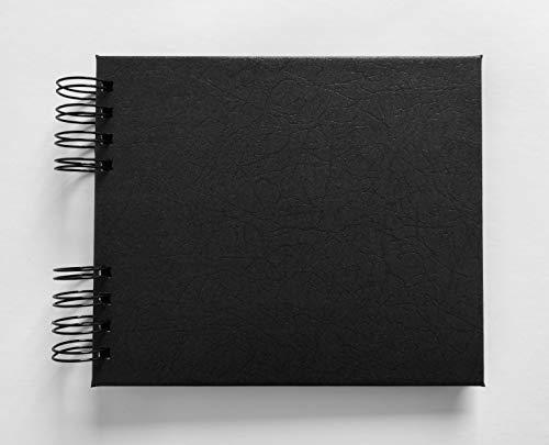 Álbum de fotos scrapbook Preto perolado texturizado 15,7x18,5cm Folhas Pretas presente namorados