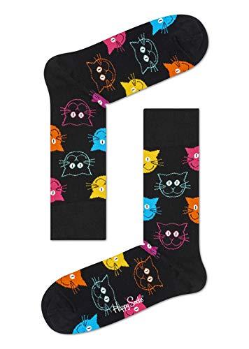 Happy Socks, bunt klassische Baumwolle Socken für Männer und Frauen, Black Cat (41-46)