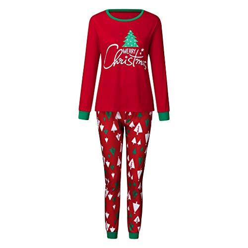 SUMTTER Weihnachts Schlafanzug Familien Pyjama Set Weihnachtsbaum Drucken Sleepwear Outfit Set Christmas Nachtwäsche Kostüm für Mutter Vater Kinder Baby