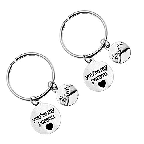PESOENTH 2pc Silver Couples Keychains Him and Her Pinky Promise Charm You're My Person Keychain BBF...