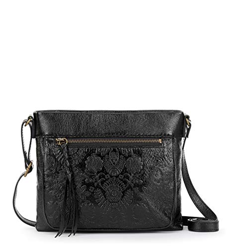 The Sak Unisex The Sanibel Mini Crossbody, Black Floral Embossed