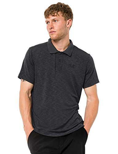 Jack Wolfskin Herren TRAVEL Men Schnelltrocknendes Polo Shirt, Black, L