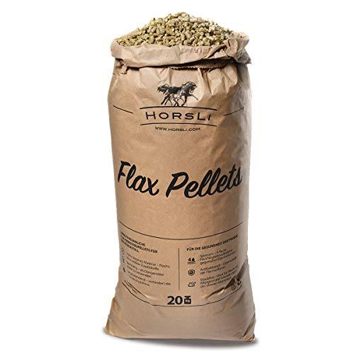 HorsLi Premium Leinen-Pellets Flachs-Pellets Flax Linen Pferde-Einstreu Boxen-Einstreu (20 Kg Sack)