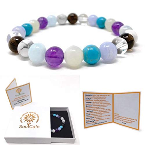Calm Emotions Power Bead Bracelet - Healing Crystal Gemstone Bracelet - Stress Relief Bracelet - Gift Box and Information Tag