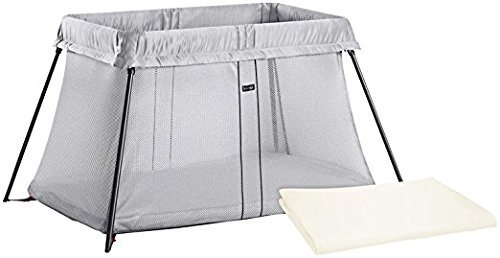 Great Features Of BABYBJORN Travel Crib Light - Silver + Fitted Sheet Bundle Pack