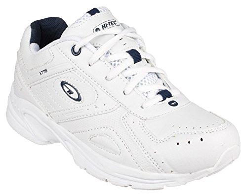 Hi-Tec Xt115 Ez Jnr, chaussures de sport garcon, Junior Size Shoe- 12 UK, Colors- White/Silver/Navy