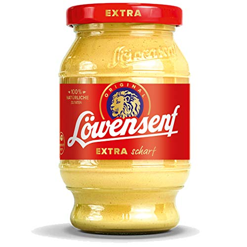 LÖWENSENF - Senf Extra - 250 ml Tönnchen - extra scharfer Senf - 100% natürliche Zutaten