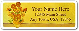 Personalized Return Address Labels - Flowers Vincent Van Gogh Sunflower Vase Design - 120 Custom Self-Adhesive Stickers