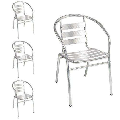 Mojawo 4 Stück stabile Aluminium Bistrostühle stapelbar Stapelstuhl Campingstuhl Gartenstuhl Küchenstuhl Alustuhl Balkonmöbel Gartensitzmöbel Silber