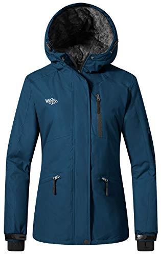 Wantdo Women's Hooded Skiing Jacket Mountaineering Insulated Rainwear Outdoor Windproof Snow Coat for Hiking(Blue Black, Small)