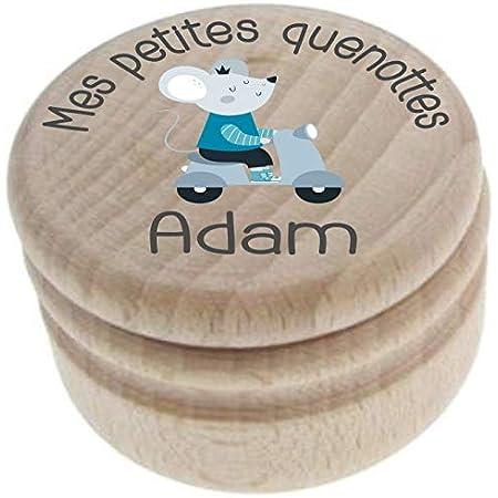 Boite à Dents de Lait en bois - Personnalisée avec le prénom de l'enfant + Texte personnalisable – Dessin de la petite souris - Fabrication française – offrir en cadeau de naissance Garçon