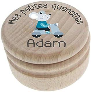 Boite à Dents de Lait en bois - Personnalisée avec le prénom de l'enfant + Texte personnalisable – Dessin de la petite sou...