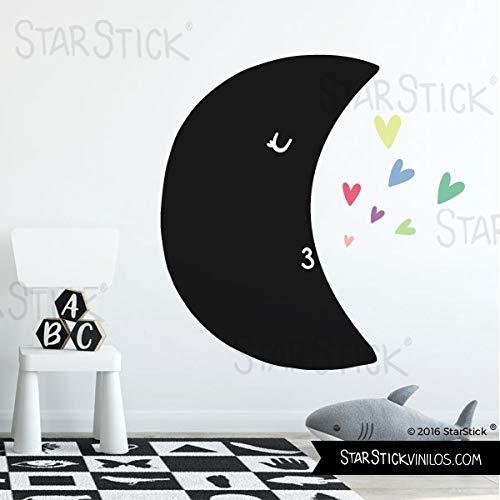 Vinilo pizarra - Luna con corazones de colores - T3 - Grande
