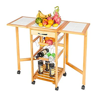 DUNTANG Portable Rolling Kitchen Storage Trolley Cart Island White Tile Top Folding Trolley Table with 1 Wood Drawer & 2 Steel Baskets Sapele Color by DUNTANG