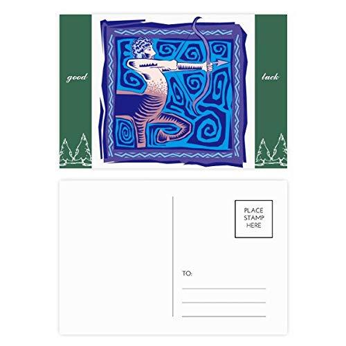 Konstellation Schütze mexikanische Kultur-Gravur Glücksbringer Postkarten-Set Karte Mailing Seite 20 Stück