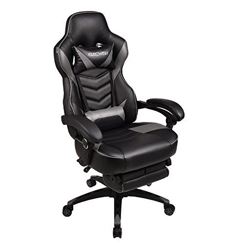 YOURLITE Gaming Chair for Adults, Swivel Computer Office Chair with Footrest, High Back PU Leather Racing Chair with Pillows & Lumbar(Black+Grey)