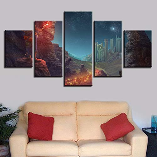 Aicedu kunstdruk op canvas, HD, kunstdruk, fotolijst, decoratief, wand, 5-delige set, hengelstok ster, hemelberg, nacht, canvas, schilderkunst, modulair L-30x40 30x60 30x80cm Frame