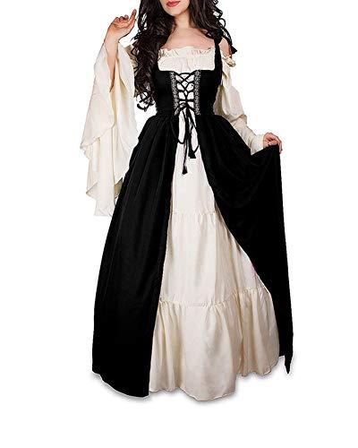 Guiran Damen Mittelalterliche Kleid mit Trompetenärmel Mittelalter Party Kostüm Maxikleid Schwarz S