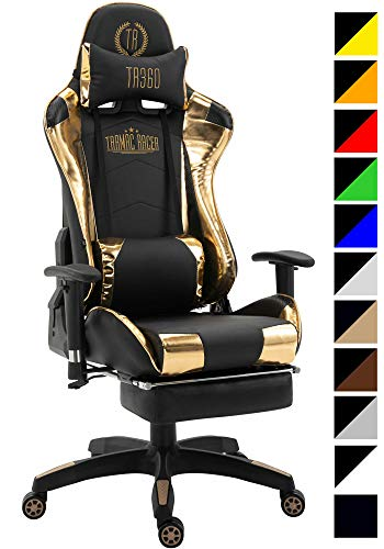 CLP Silla Gaming Turbo Tapizado En Cuero Sintetico, Tela o Cuero Sintetico Metalizado I Silla Gamer Giratoria & Regulable En Altura I Color: Negro/Dorado Brillante, Cuero sintetico Metalizado