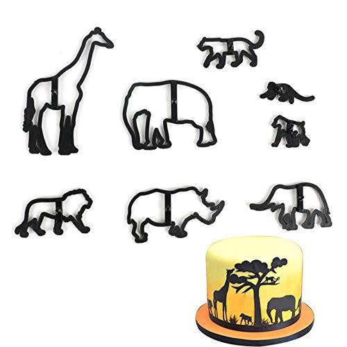 EORTA Set of 8 Fondant/Cookie Cutter Giraffe/Elephant/Lion/Monkey Silhouette Gumpaste Flowers Sugar Craft Mold Cake Decorating Tools for Party, DIY, Craft, Animals Theme