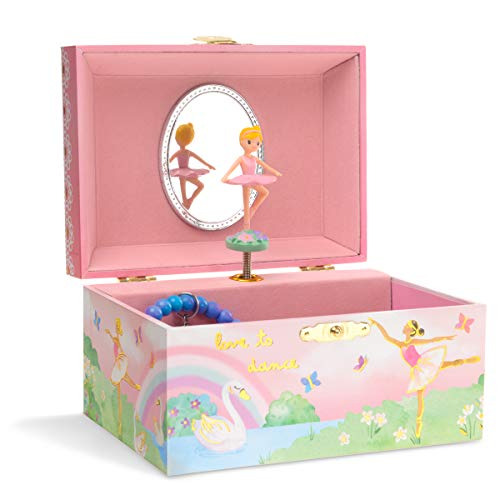 Jewelkeeper Girl's Musical Jewellery Storage Box with Spinning Ballerina, Rainbow and Gold Foil Design, Swan Lake Tune