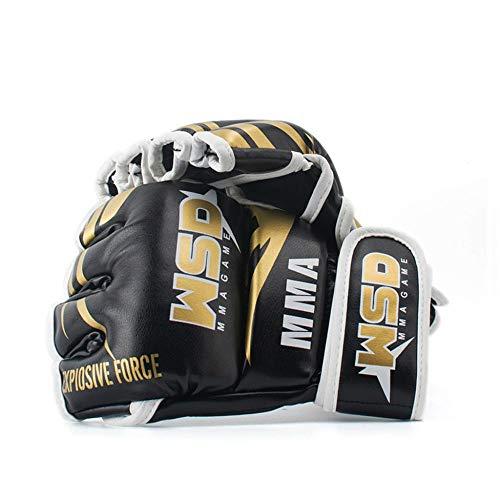REXCHI De Los Medios Guantes De MMA For Los Hombres De La PU Kicki Boxeo Muay Thai Karate Guantes De Boxeo Lucha Libre Equipo De Entrenamiento De Sanda Zzib (Color : Black)