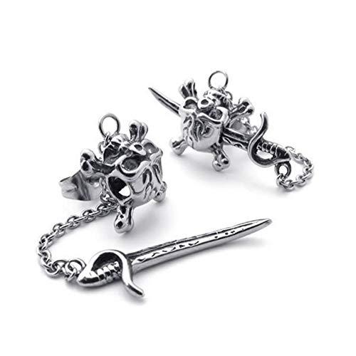 LUOSI Men's Jewelry Earrings Studs Retro Style Gothic Skull Pirate Skull Titanium Steel (Color : Multi-colored)