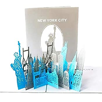 Paper Spiritz New York Silhouette Pop up Cards Birthday,Get Well Anniversary Mother s Day Card for Husband Wife,Handmade Graduation Sympathy Blank Card,Laser Cut,with Envelopes All Occasions