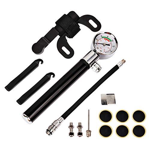 Yizhet Bomba para Bicicleta, Bomba de Bicicleta con Manómetro [210 PSI] Mini Bomba Portátil Inflador de Neumáticos de Mano para Válvulas Schrader&Presta, con Aguja de Bola, para Bicicletas,Pelota