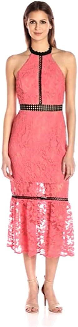 ABS Allen Schwartz Women's Cocktail Dress Halter Neckline Contrast Inserts in Lace