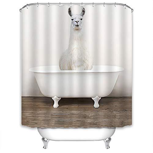 Xlabor Lustig Tier Duschvorhang Badewannevorhang Wasserdicht Anti-Schimmel Stoff inkl. 12 Duschvorhangringe für Badezimmer Alpaka 180x200cm