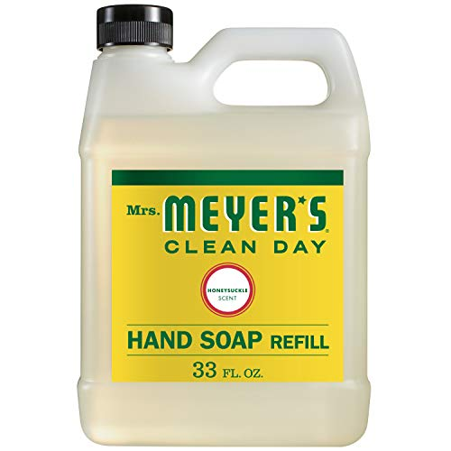 Mrs Meyer#039s Clean Day Liquid Hand Soap Refill Cruelty Free and Biodegradable Formula Honeysuckle Scent 33 oz Pack of 6