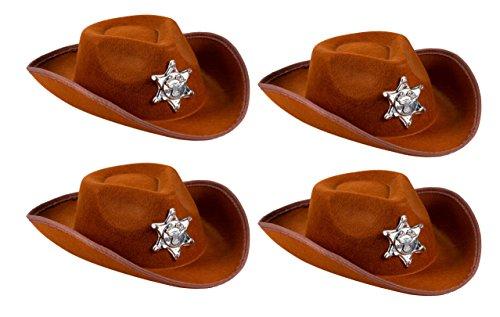 Blue Panda Cowboy Sheriff-hoed voor kinderen - pak van 4 Cowboy nieuwheid westerse kinderen hoeden met borden - ideaal voor verjaardagen, deelvoorkeuringen (bruin)