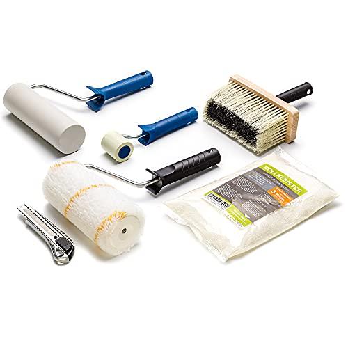 Colorus Tapezier Set 7 tlg. | Tapezierset Rollkleister für 40m² | Tapeten Set mit Kleister, Cuttermesser, Kleisterroller, Andrückroller, Bürste | Tapezierwerkzeug Tapezierbedarf für Vliestapeten