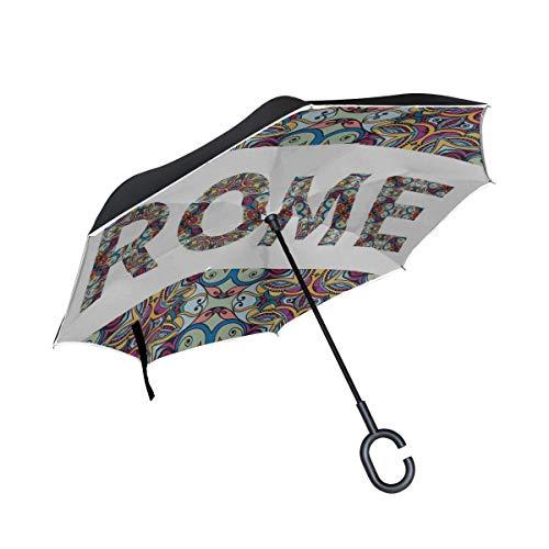 AOTISO Tribal Ethnic Style Zeichen Indien Rom Paris Doppelschicht Faltbar UV-Schutz Wasserdicht Winddicht Gerade Autos Golf Reverse Inverted Umbrella Stand