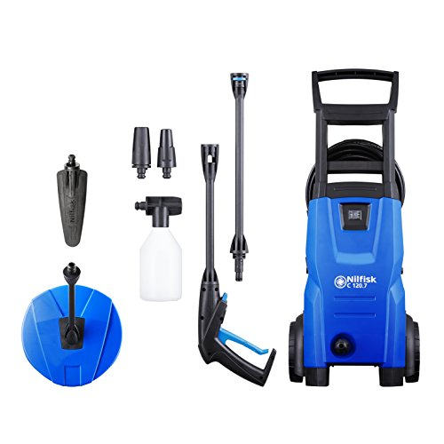 Nilfisk C 120 bar 120.7-6 PCA UK Compact Pressure Washer for Basic Tasks Outdoor Cleaner with Patio & Car Cleaning Accessories, 1400 W, 240 V, Blue, 9 kg