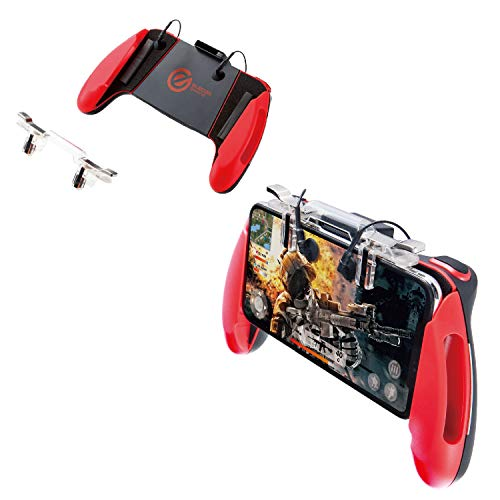 エレコム 荒野行動/PUBG Mobile スマホ用ゲームコントローラー 4ボタン&グリップ 4.7~6.5インチ iPhone/Android レッド P-GMGS4B01RDT