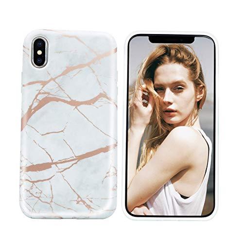 Nupcknn Funda Marmol para iPhone X iPhone XS, Carcasa TPU Suave Silicona Ultra Delgado Case Cover Protectora para iPhone X iPhone XS (Marmol 10)